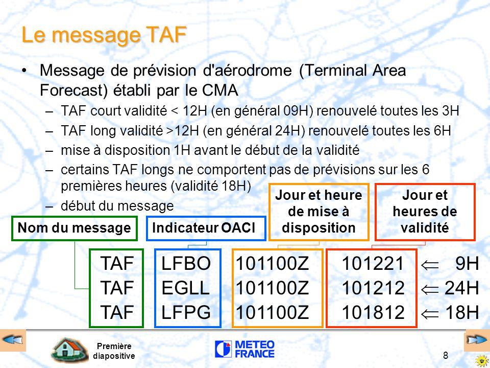 Première diapositive 8 Le message TAF Message de prévision d aérodrome (Terminal Area Forecast) établi par le CMA –TAF court validité < 12H (en général 09H) renouvelé toutes les 3H –TAF long validité >12H (en général 24H) renouvelé toutes les 6H –mise à disposition 1H avant le début de la validité –certains TAF longs ne comportent pas de prévisions sur les 6 premières heures (validité 18H) –début du message TAF LFBO EGLL LFPG 101100Z 101221 9H 101212 24H 101812 18H Nom du messageIndicateur OACIJour et heure de mise à disposition Jour et heures de validité