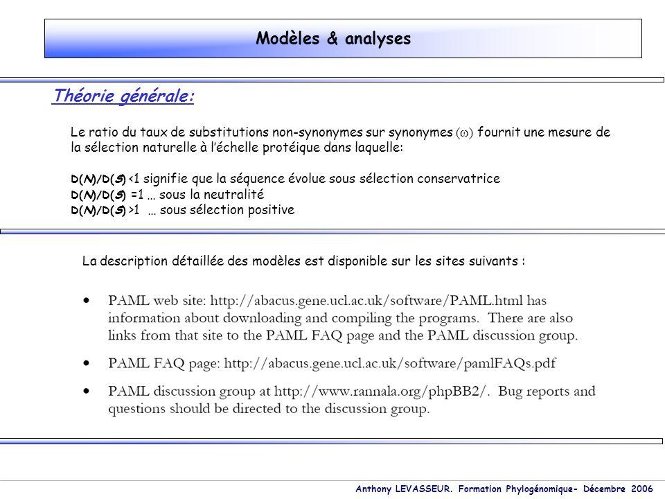 Modèles & analyses Théorie générale: Le ratio du taux de substitutions non-synonymes sur synonymes (ω) fournit une mesure de la sélection naturelle à