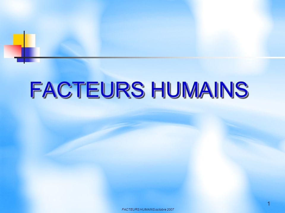 FACTEURS HUMAINS octobre 2007 2 Le facteur humain Le facteur humain est impliqué dans 50 à 80% des cas selon les études Des causes de nature psychologique sont citées : Inattention Erreur de jugement Méconnaissance Fatigue Réaction inadaptées Manque de rigueur Fascination Incompréhension Excés de confiance
