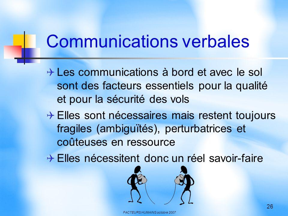 FACTEURS HUMAINS octobre 2007 26 Communications verbales Les communications à bord et avec le sol sont des facteurs essentiels pour la qualité et pour