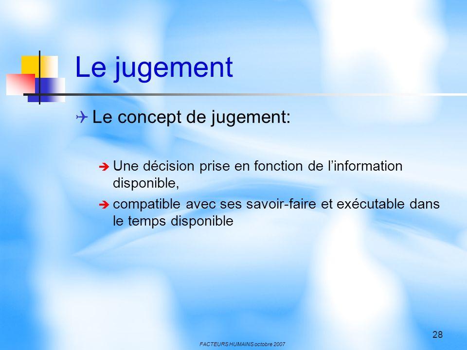 FACTEURS HUMAINS octobre 2007 28 Le jugement Le concept de jugement: Une décision prise en fonction de linformation disponible, compatible avec ses savoir-faire et exécutable dans le temps disponible