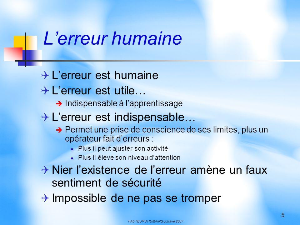 FACTEURS HUMAINS octobre 2007 5 Lerreur humaine Lerreur est humaine Lerreur est utile… Indispensable à lapprentissage Lerreur est indispensable… Perme