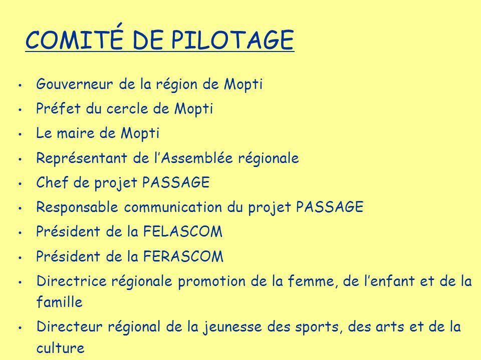Gouverneur de la région de Mopti Préfet du cercle de Mopti Le maire de Mopti Représentant de lAssemblée régionale Chef de projet PASSAGE Responsable c