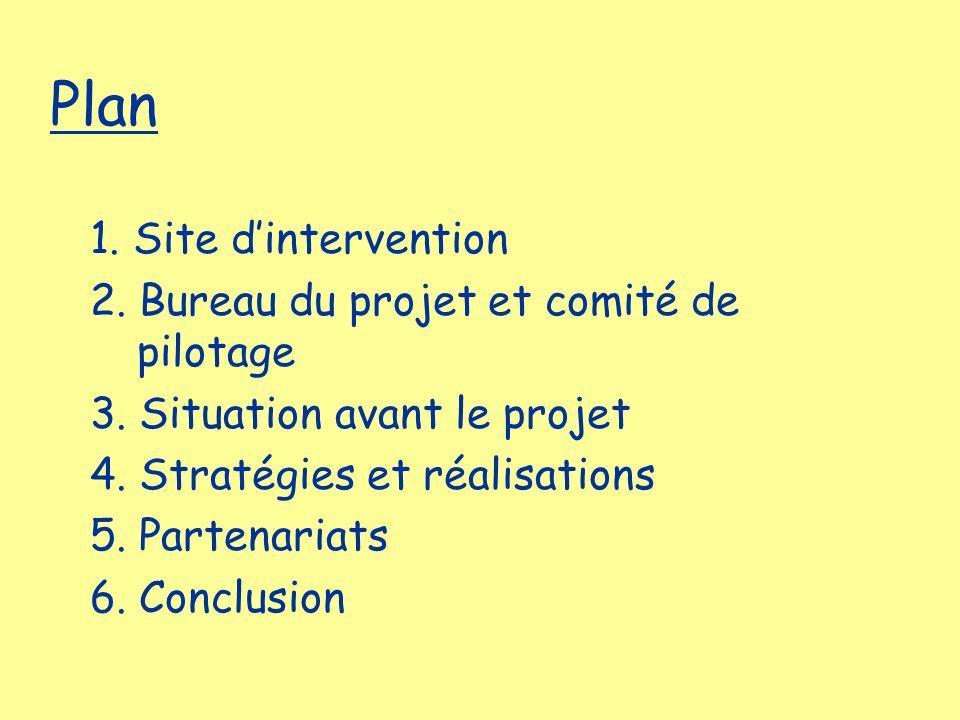 Plan 1. Site dintervention 2. Bureau du projet et comité de pilotage 3. Situation avant le projet 4. Stratégies et réalisations 5. Partenariats 6. Con