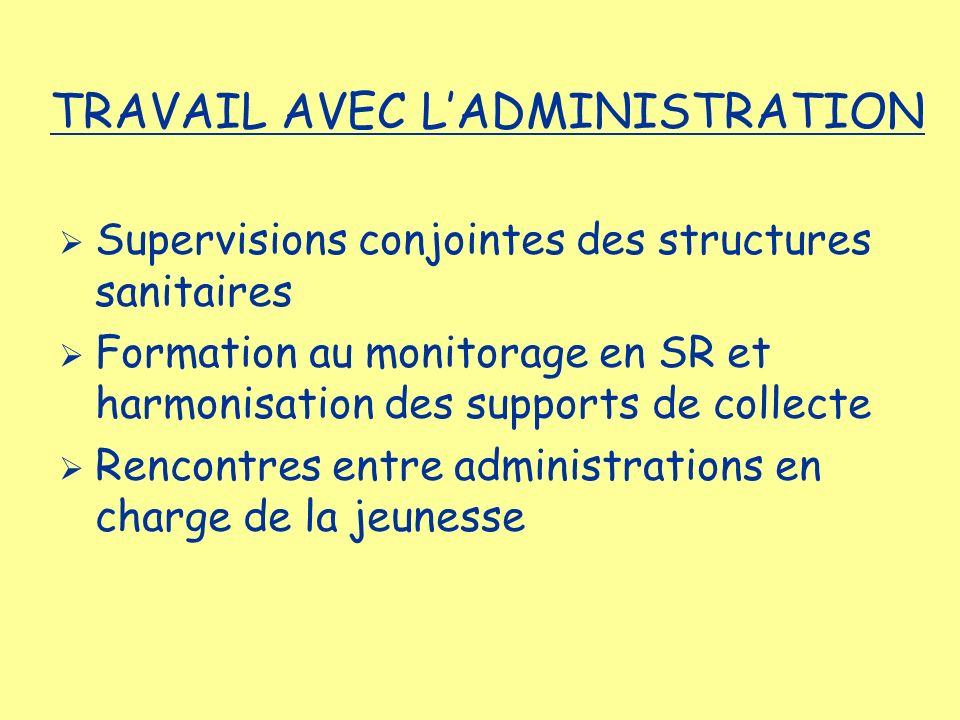 Supervisions conjointes des structures sanitaires Formation au monitorage en SR et harmonisation des supports de collecte Rencontres entre administrat