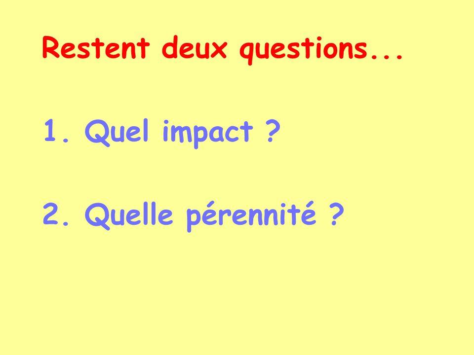 Restent deux questions... 1. Quel impact ? 2. Quelle pérennité ?