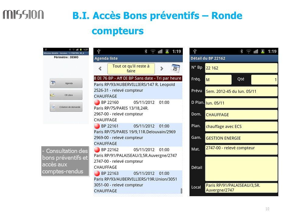 10 - Consultation des bons préventifs et accès aux comptes-rendus B.I. Accès Bons préventifs – Ronde compteurs
