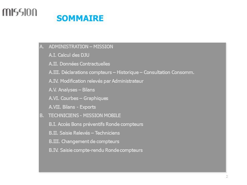 2 A.ADMINISTRATION – MISSION A.I. Calcul des DJU A.II. Données Contractuelles A.III. Déclarations compteurs – Historique – Consultation Consomm. A.IV.