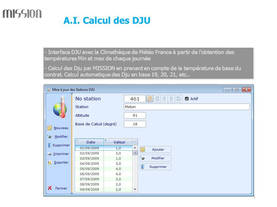 3 - Interface DJU avec la Climathèque de Météo France à partir de lobtention des températures Min et max de chaque journée - Calcul des Dju par MISSIO