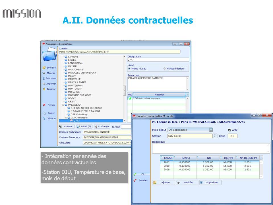 4 - Intégration par année des données contractuelles -Station DJU, Température de base, mois de début… - Intégration par année des données contractuel