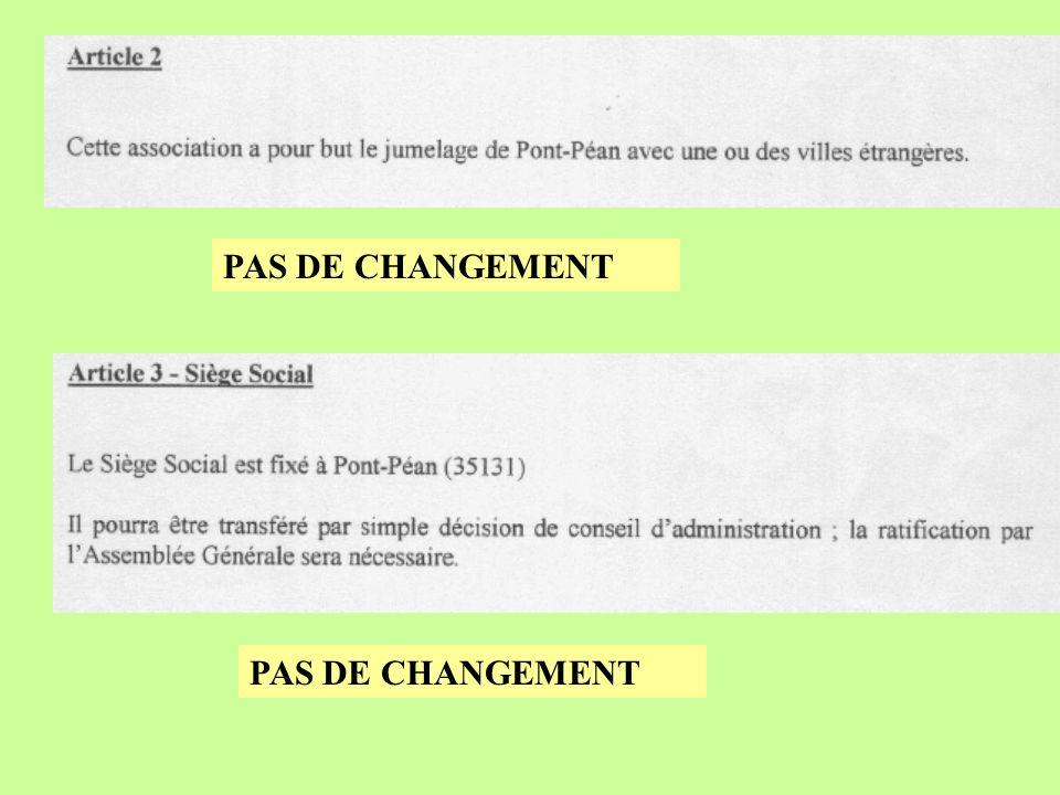 PAS DE CHANGEMENT