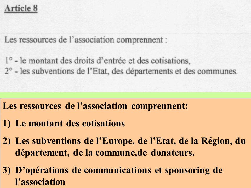 Les ressources de lassociation comprennent: 1)Le montant des cotisations 2)Les subventions de lEurope, de lEtat, de la Région, du département, de la commune,de donateurs.