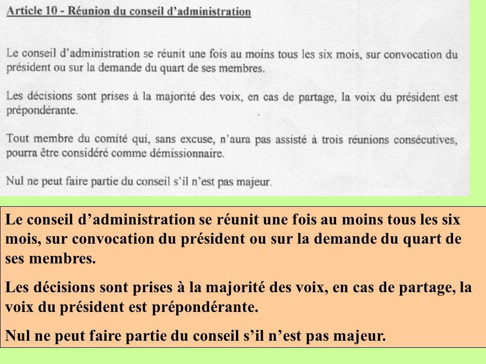 Le conseil dadministration se réunit une fois au moins tous les six mois, sur convocation du président ou sur la demande du quart de ses membres.