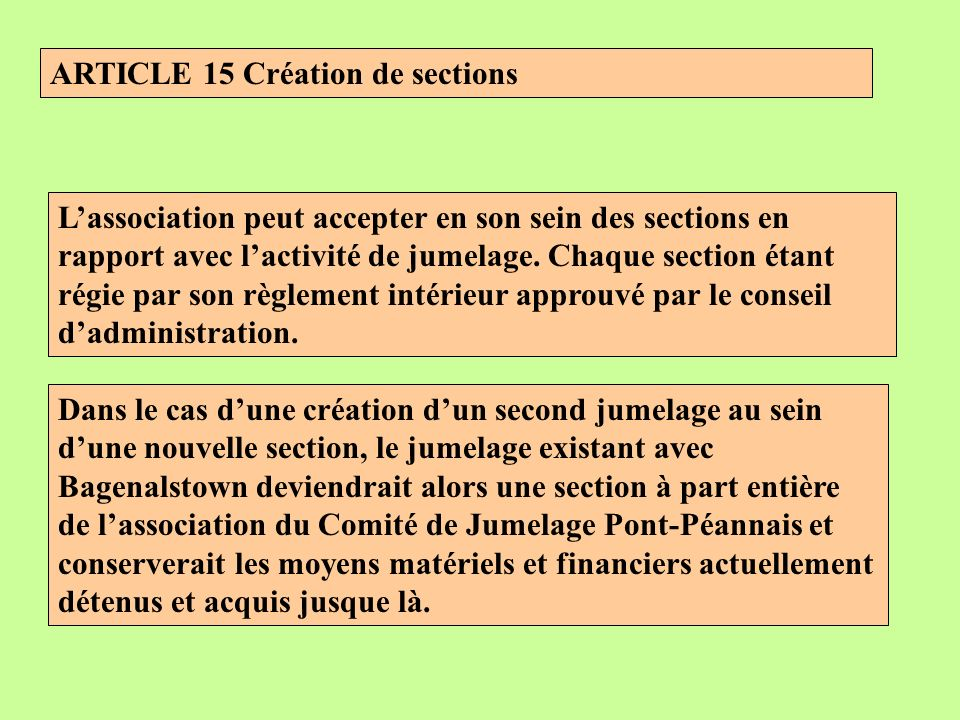 ARTICLE 15 Création de sections Lassociation peut accepter en son sein des sections en rapport avec lactivité de jumelage.