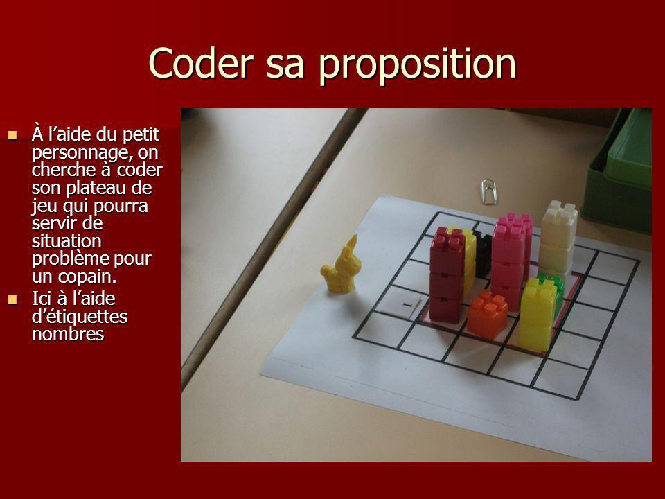 Coder sa proposition À laide du petit personnage, on cherche à coder son plateau de jeu qui pourra servir de situation problème pour un copain. À laid