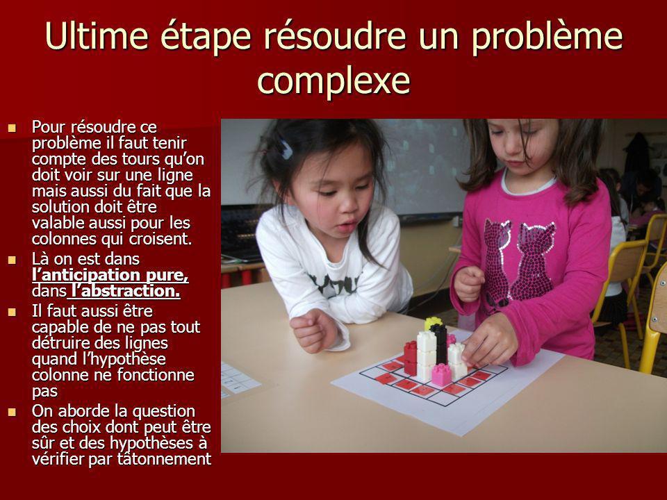 Ultime étape résoudre un problème complexe Pour résoudre ce problème il faut tenir compte des tours quon doit voir sur une ligne mais aussi du fait qu