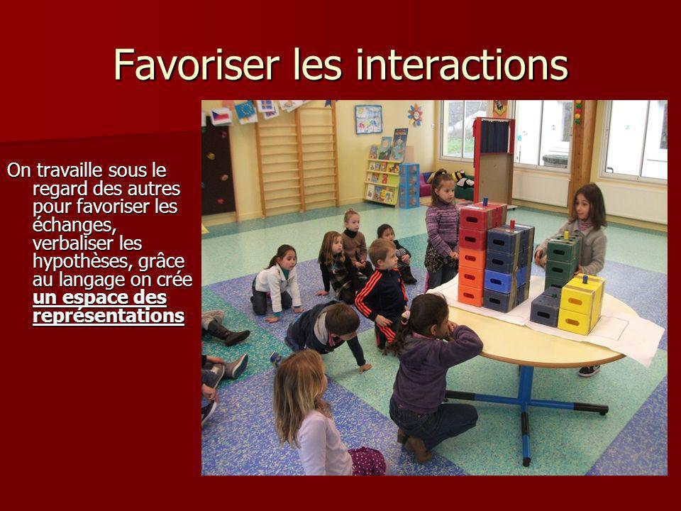 Favoriser les interactions On travaille sous le regard des autres pour favoriser les échanges, verbaliser les hypothèses, grâce au langage on crée un