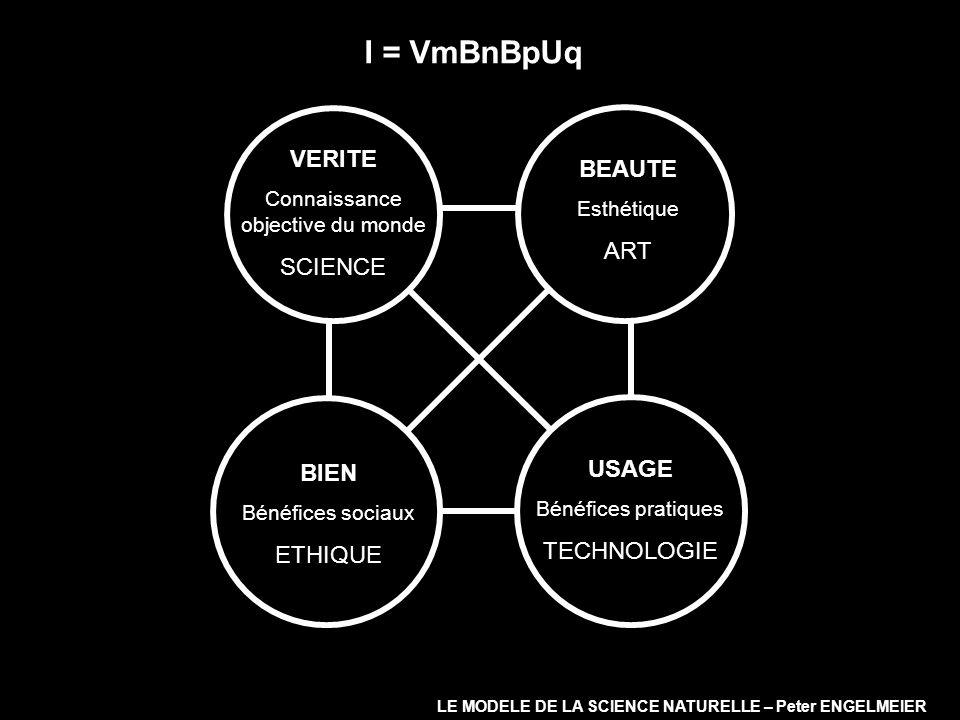 I = VmBnBpUq VERITE Connaissance objective du monde SCIENCE BIEN Bénéfices sociaux ETHIQUE USAGE Bénéfices pratiques TECHNOLOGIE BEAUTE Esthétique ART