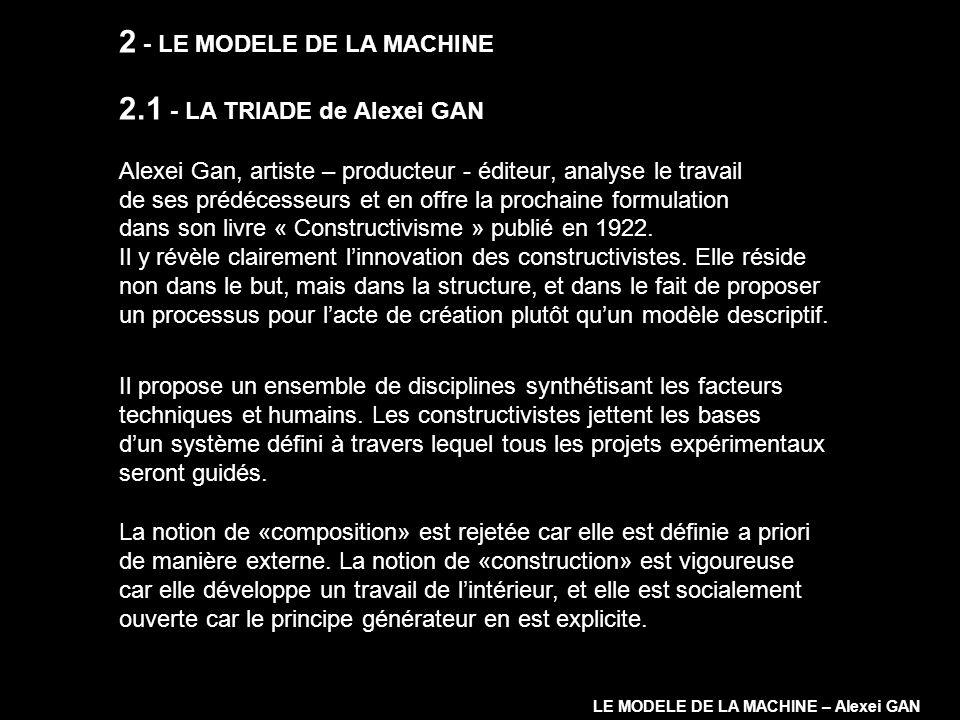2 - LE MODELE DE LA MACHINE 2.1 - LA TRIADE de Alexei GAN Alexei Gan, artiste – producteur - éditeur, analyse le travail de ses prédécesseurs et en of