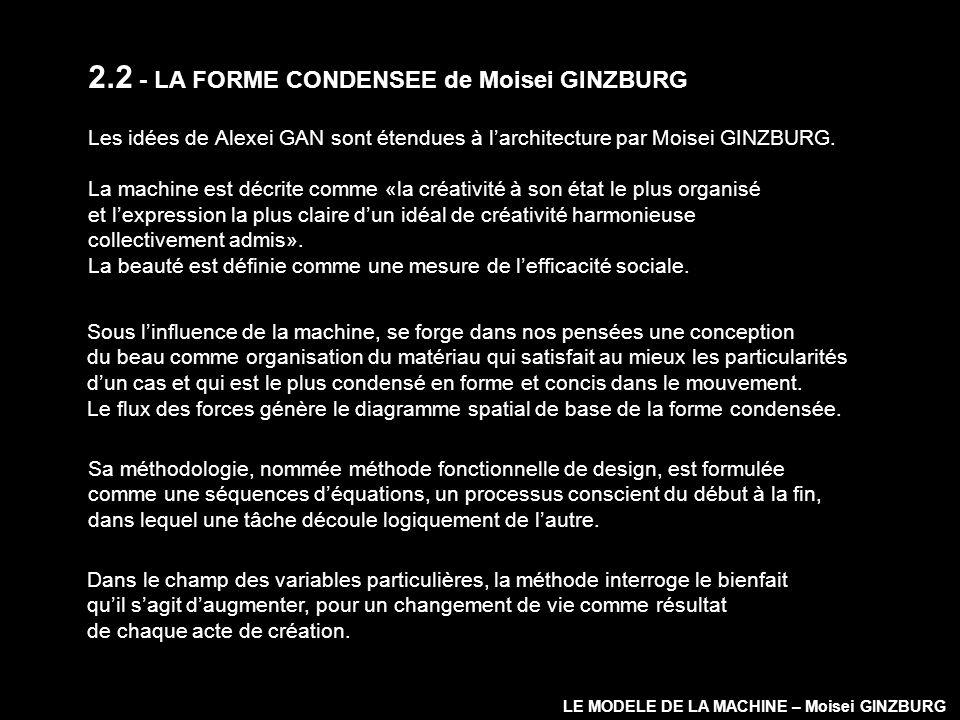 2.2 - LA FORME CONDENSEE de Moisei GINZBURG Les idées de Alexei GAN sont étendues à larchitecture par Moisei GINZBURG. La machine est décrite comme «l
