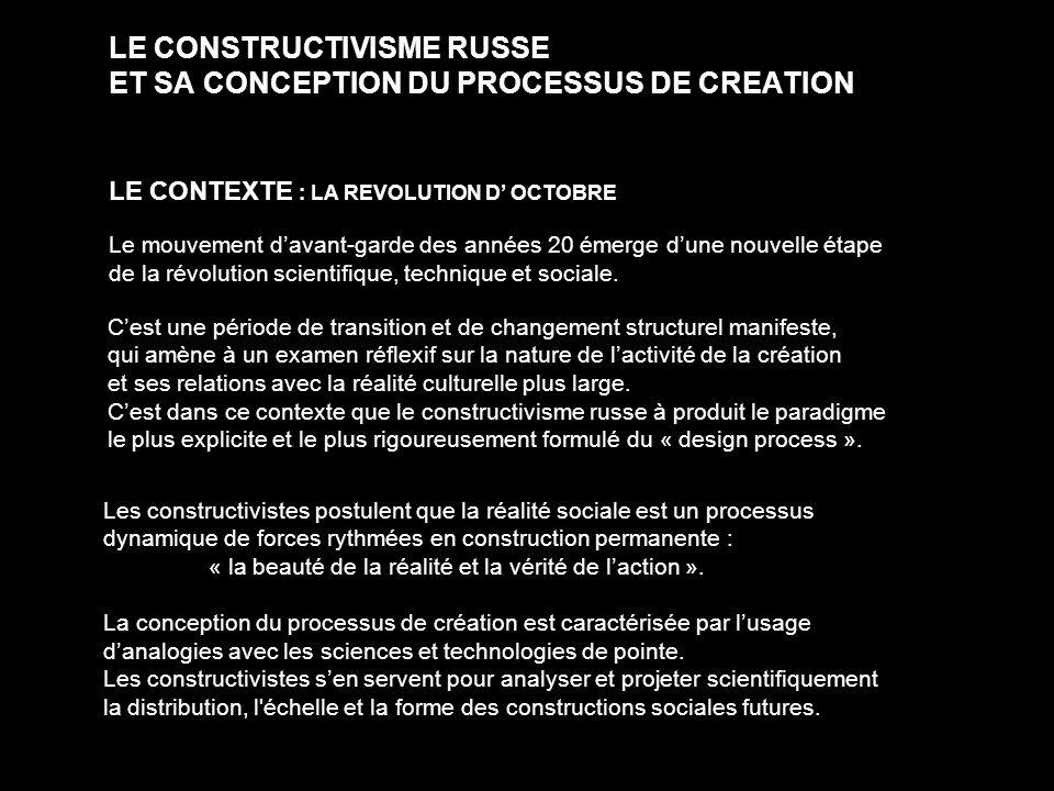 LE CONSTRUCTIVISME RUSSE ET SA CONCEPTION DU PROCESSUS DE CREATION LE CONTEXTE : LA REVOLUTION D OCTOBRE Le mouvement davant-garde des années 20 émerg