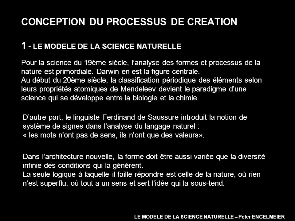 CONCEPTION DU PROCESSUS DE CREATION 1 - LE MODELE DE LA SCIENCE NATURELLE Pour la science du 19ème siècle, lanalyse des formes et processus de la natu