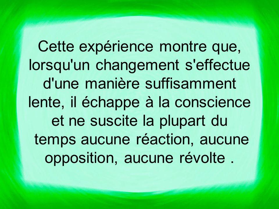 Cette expérience montre que, lorsqu un changement s effectue d une manière suffisamment lente, il échappe à la conscience et ne suscite la plupart du temps aucune réaction, aucune opposition, aucune révolte.