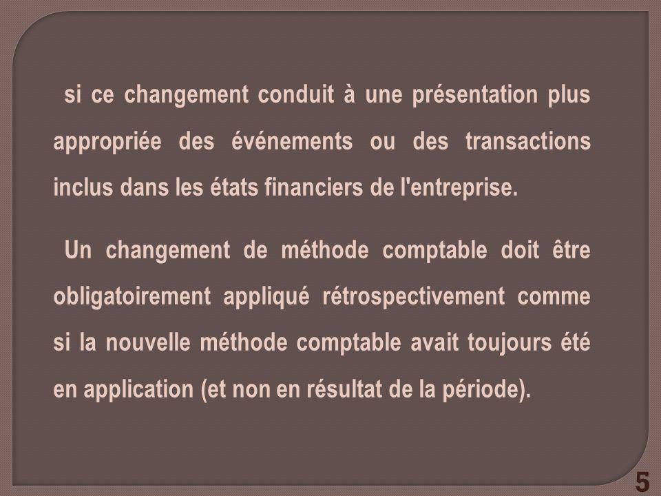 si ce changement conduit à une présentation plus appropriée des événements ou des transactions inclus dans les états financiers de l'entreprise. Un ch