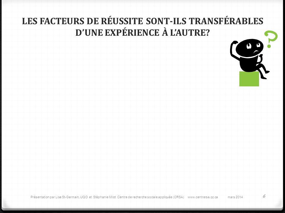LES FACTEURS DE RÉUSSITE SONT-ILS TRANSFÉRABLES DUNE EXPÉRIENCE À LAUTRE.