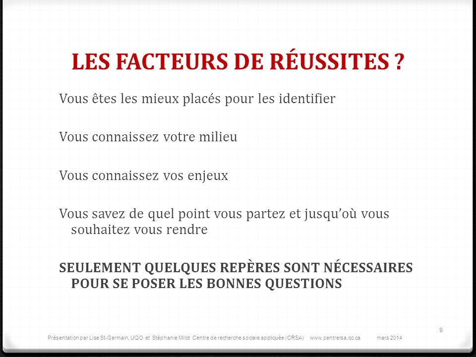 LES FACTEURS DE RÉUSSITES .