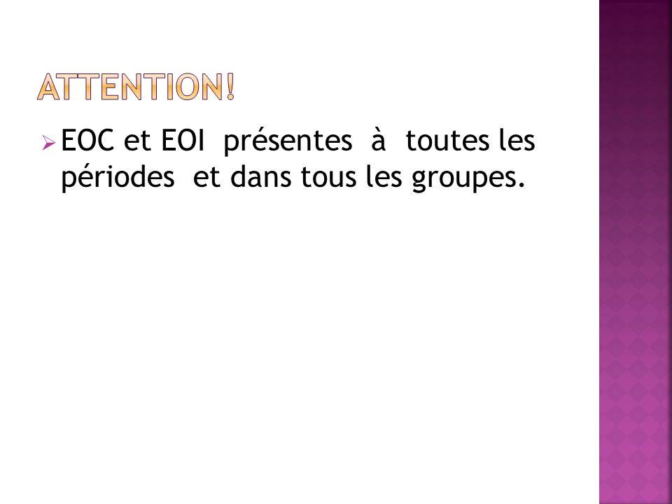EOC et EOI présentes à toutes les périodes et dans tous les groupes.