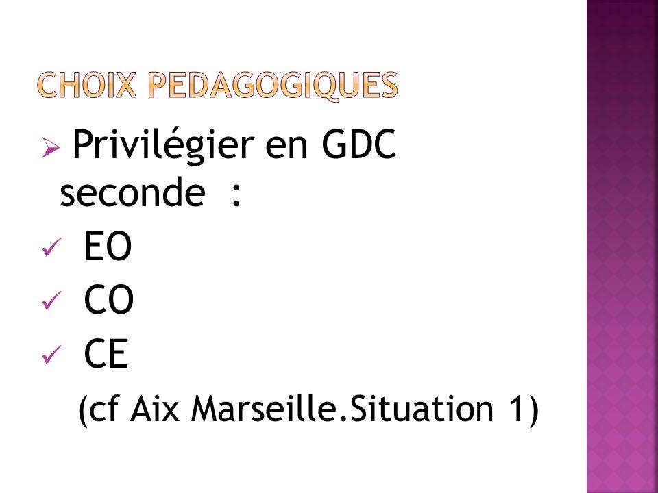 Privilégier en GDC seconde : EO CO CE (cf Aix Marseille.Situation 1)
