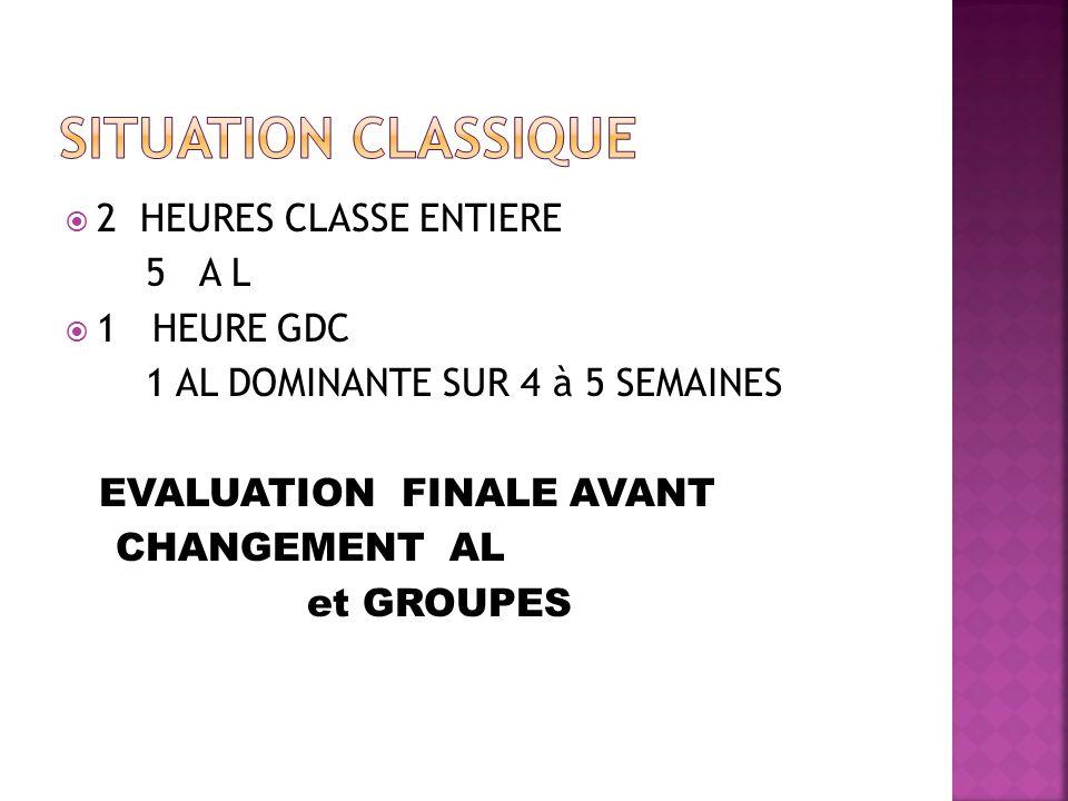 2 HEURES CLASSE ENTIERE 5 A L 1 HEURE GDC 1 AL DOMINANTE SUR 4 à 5 SEMAINES EVALUATION FINALE AVANT CHANGEMENT AL et GROUPES