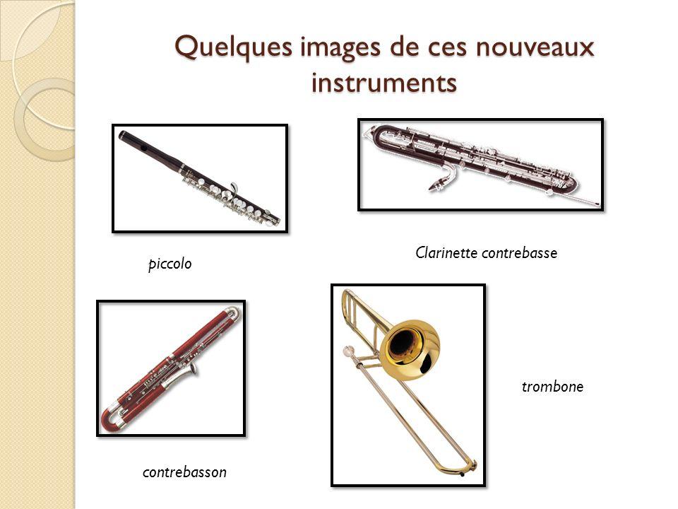 Quelques images de ces nouveaux instruments piccolo Clarinette contrebasse contrebasson trombone