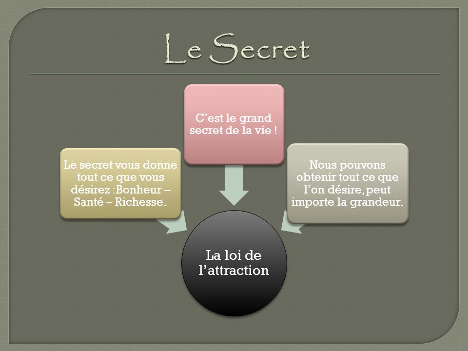 La loi de lattraction Le secret vous donne tout ce que vous désirez :Bonheur – Santé – Richesse.