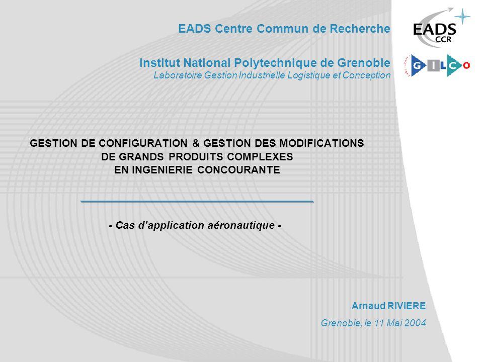 EADS Centre Commun de Recherche Institut National Polytechnique de Grenoble Laboratoire Gestion Industrielle Logistique et Conception GESTION DE CONFI