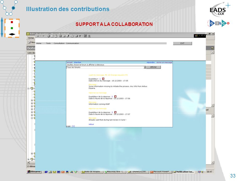 33 Illustration des contributions SUPPORT A LA COLLABORATION