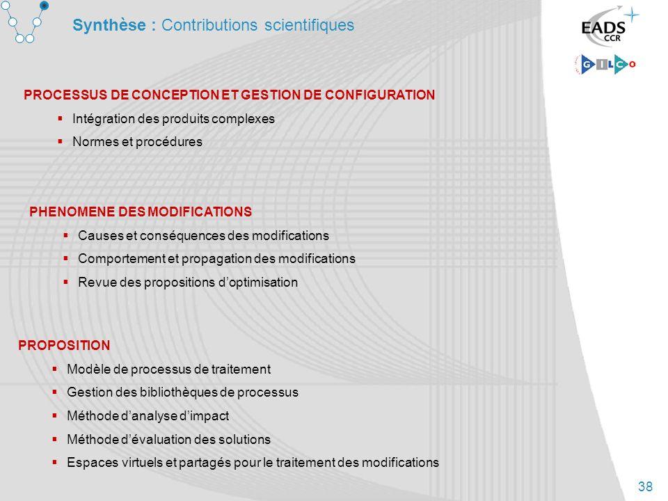 38 Synthèse : Contributions scientifiques PROPOSITION Modèle de processus de traitement Gestion des bibliothèques de processus Méthode danalyse dimpac
