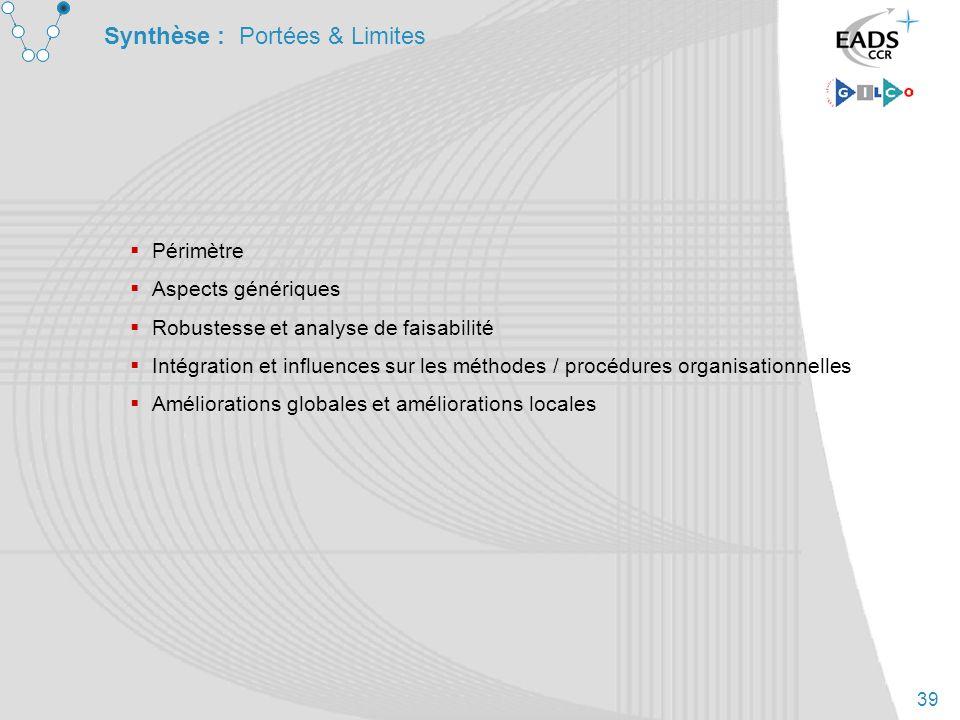 39 Synthèse : Portées & Limites Périmètre Aspects génériques Robustesse et analyse de faisabilité Intégration et influences sur les méthodes / procédu