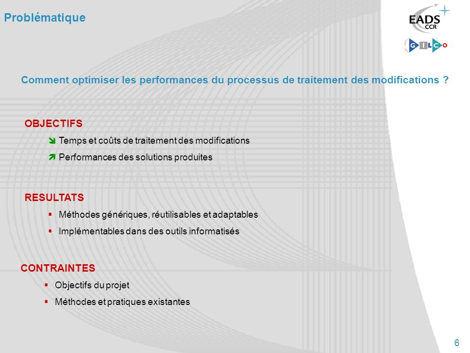 6 Comment optimiser les performances du processus de traitement des modifications ? Problématique OBJECTIFS Temps et coûts de traitement des modificat