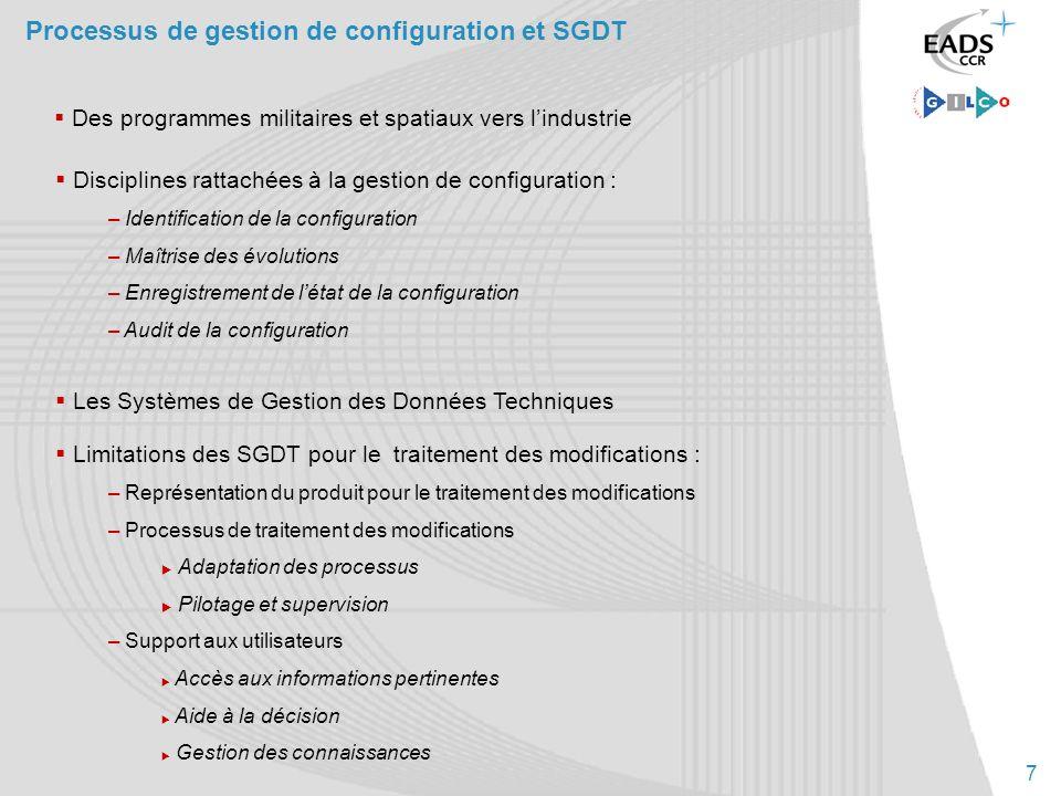 7 Processus de gestion de configuration et SGDT Disciplines rattachées à la gestion de configuration : – Identification de la configuration – Maîtrise