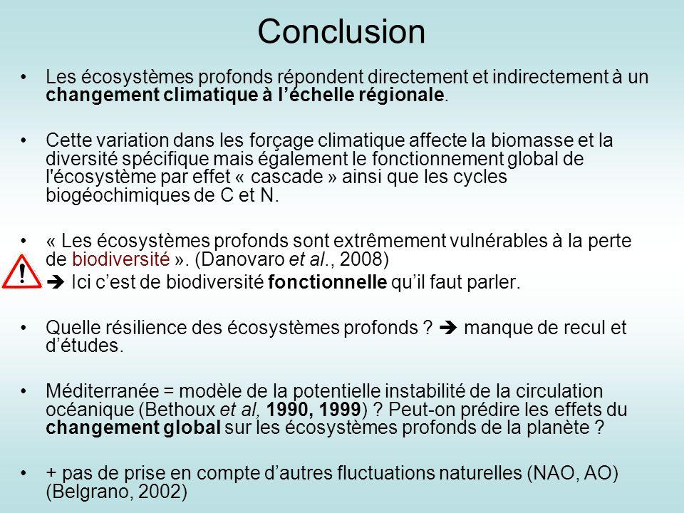 Conclusion Les écosystèmes profonds répondent directement et indirectement à un changement climatique à léchelle régionale. Cette variation dans les f