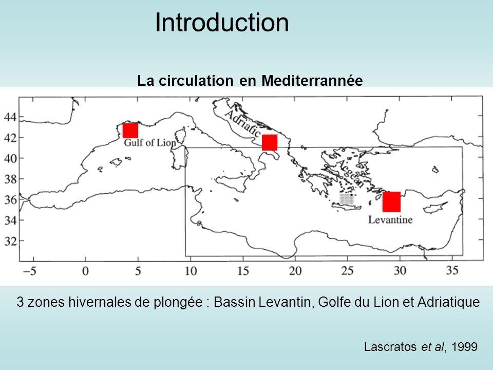 Lascratos et al, 1999 3 zones hivernales de plongée : Bassin Levantin, Golfe du Lion et Adriatique La circulation en Mediterrannée Introduction