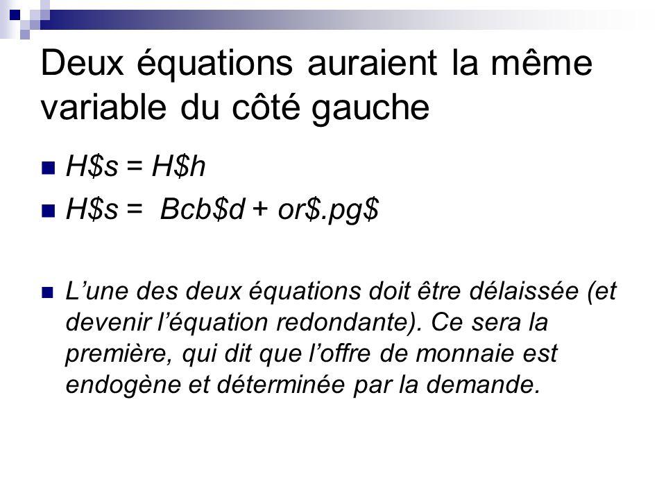 Deux équations auraient la même variable du côté gauche H$s = H$h H$s = Bcb$d + or$.pg$ Lune des deux équations doit être délaissée (et devenir léquation redondante).