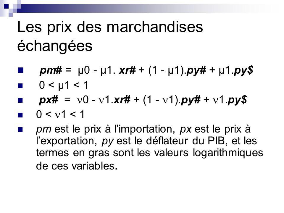 Les prix des marchandises échangées pm# = µ0 - µ1.