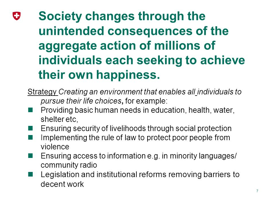 Society changes through the unintended consequences of the aggregate action of millions of individuals each seeking to achieve their own happiness.
