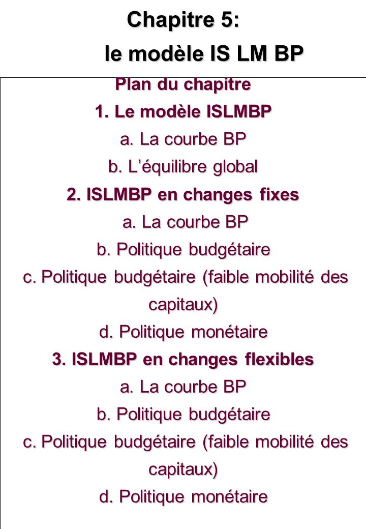 Chapitre 5: le modèle IS LM BP Plan du chapitre 1. Le modèle ISLMBP a. La courbe BP b. Léquilibre global 2. ISLMBP en changes fixes a. La courbe BP b.