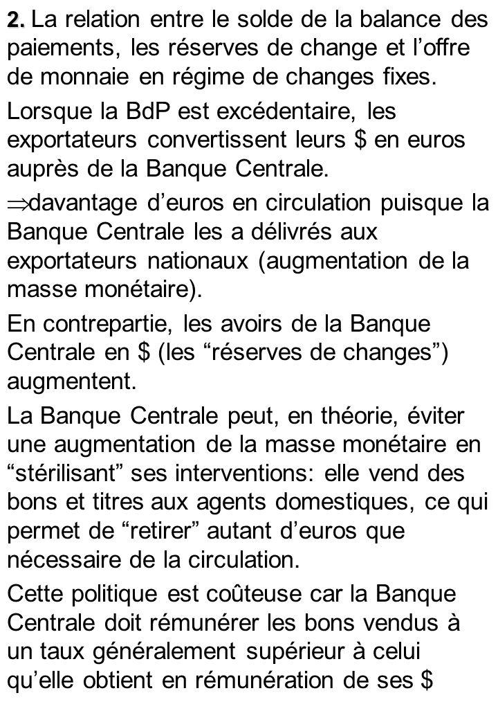 2. 2. La relation entre le solde de la balance des paiements, les réserves de change et loffre de monnaie en régime de changes fixes. Lorsque la BdP e