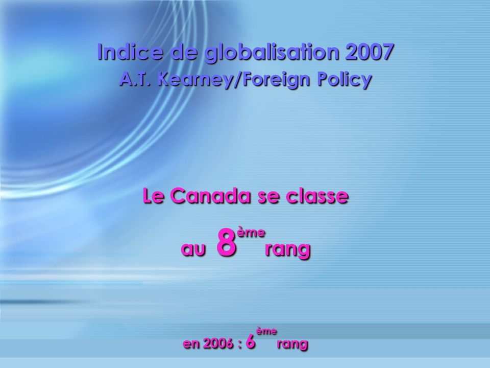 Indice de globalisation 2007 A.T.Kearney/Foreign Policy Indice de globalisation 2007 A.T.