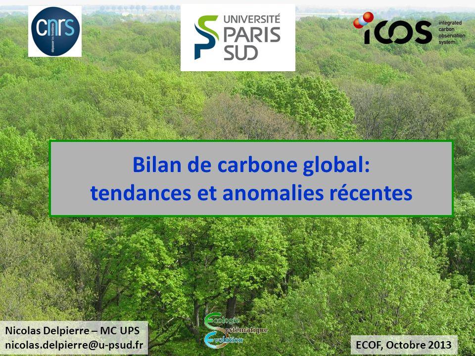 Conclusions Écosystèmes continentaux Puits net de CO2 (30% des émissions anthropiques) Tendance à laccroissement du puits Forte variabilité interannuelle Rôle particulier des forêts Déforestation globale, forte disparités régionales Accroissement de productivité surfacique Influences des changements globaux (CO 2, dépôts N, anomalies climatiques) Puits de C vulnérable (mortalité hydraulique / carbonée) Bilan C et GHG européen Émissions anthropiques 1.6 GtC an-1 14% compensés par absorption continentale Surface continentale source nette de GHG